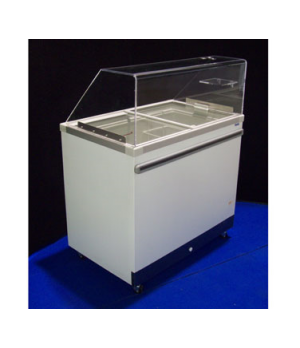 Ice Cream Cabinet, (6) tub or (3) basket capacity, 8.9 cu. ft., sliding glass li