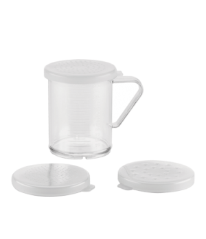 "Dredge Set, 10 oz., 2-1/2"" dia. x 3.6""H, includes: (3) lids: fine, medium & larg"