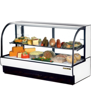 "Curved Glass Display Case (COLD DELI), 77-7/8""L, self-contained refrigeration, 5"