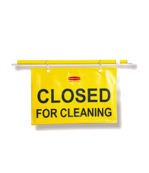 "Sign, ""Closed For Cleaning"", English, 13"" H, 1"" W, 44"" Long (open), yellow"