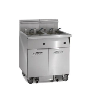Fryer, electric, floor model. (2) battery, 50lb. capacity each, tilit-up element