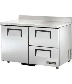 Work Top Refrigerator, two-section, stainless steel top with rear splash and sid