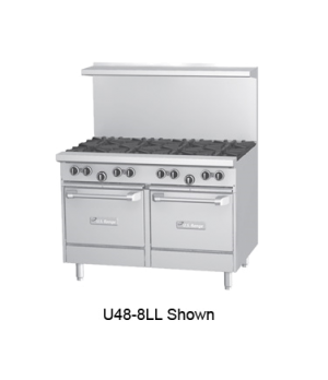 "U Series Restaurant Range, gas, 48, (4 32,000 BTU open burners, 24"" x 23"" x 5/8"""