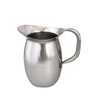 "Pitcher, 100 oz., 9""H, bell shaped, tubular handle, stainless steel, mirror fini"