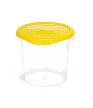 "Storage Container, round, 4 qt., 8-1/2"" x 7-3/4"", stackable, deep, easy-grip han"