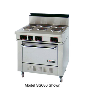 "Sentry Series Restaurant Range, electric, 36"", 6 all purpose tubular element bur"