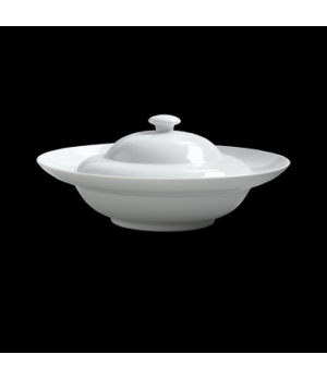 "Presentation Bowl, 15-1/4 oz., 9"" dia. x 3-1/2"" H, round, with lid, porcelain, D"