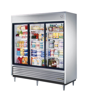 Refrigerator, Reach-in, (3) glass sliding doors, stainless steel front, aluminum