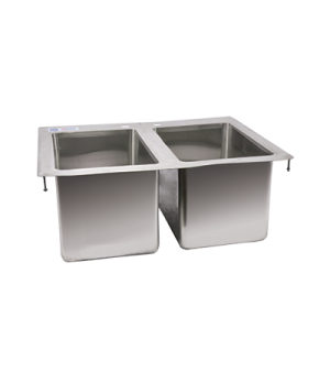 "(39782) Drop-In Sink, two compartment, 10"" wide x 14"" front-to-back x 10"" deep c"