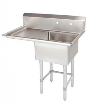 Pot Sink - 1 Compartment Corner Drain Sink with Left Drain Board