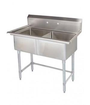 Pot Sink - 2 Compartment Centre Drain Sinks with Leg Brace