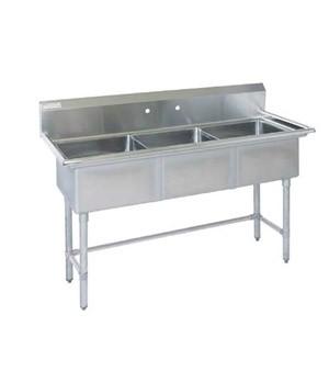 Pot Sink - 3 Compartment Centre Drain Sink