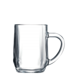 "Beer Mug, 10 oz., glass, Arcoroc, Haworth, (H 4""; M 2-3/4"")"