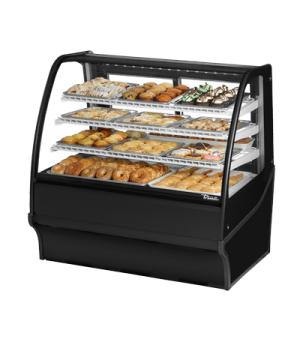 "Display Merchandiser, Non-Refrigerated (Dry), 48-1/4""L, curved glass front, glas"
