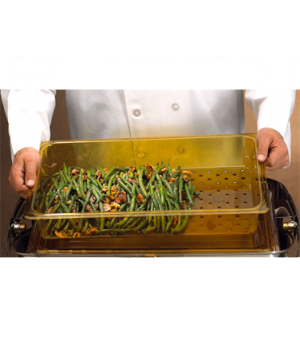 "H-Pan™ Colander, 3"" deep, fits full size food pans, polysulfone, amber, NSF"