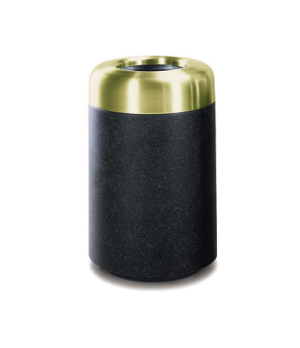 "Waste Receptacle, 20 gallon, 18"" dia. x 29"" H, open satin brass aluminum top, fi"