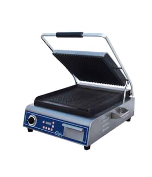 Sandwich/Panini Grill, single, countertop, electric, cast iron grooved plates, 1