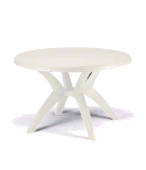 "Ibiza Outdoor Table, 46"" round, with umbrella hole, UV resistant resin, white"