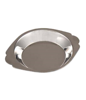 "Au Gratin Dish, 6 oz., 5-1/2"" dia. x 3/4"", stainless steel, mirror finish"