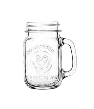 """Drinking Jar, 16-1/2 oz., COUNTY FAIR, (H 5-1/4""""; T 2-5/8""""; B 2-1/2""""; D 4-1/8"""")"""