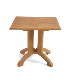 "Winston Table, 32"" square, molded melamine with balcony pedestal base, umbrella"