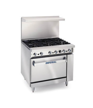 "Restaurant Range, gas, 36"", (6) open burners, standard oven, (1) chrome rack, re"