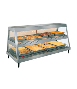 Glo-Ray® Heated Display Case, countertop, see-thru design, (4) pan dual shelf, 2