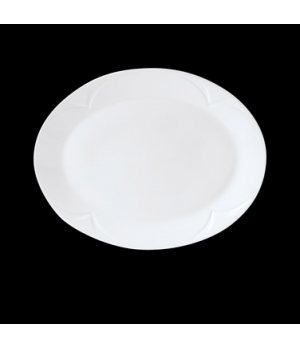 "Platter, 8"", oval, Distinction, Bianco, Noir (UK stock item) (minimum = case qua"