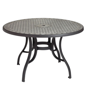 "Cordoba Outdoor Pedestal Table, 48"", round, with umbrella hole, resin top with c"