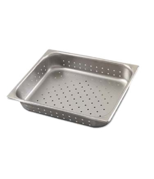"Steam Table Pan, 1/2 size, perforated, 10.6 qt., 12-3/4""L x 10-3/8""W x 6"" deep,"