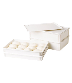 "Pizza Dough Box, 26""L x 18""W x 3""D, white, polycarbonate, rounded edges, dishwas"