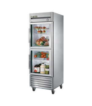 Refrigerator, Reach-in, one-section, (2) glass half doors, stainless steel front