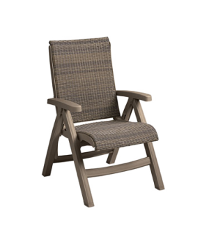 Java Folding Chair, designed for outdoor use, all weather wicker, taupe frame, p