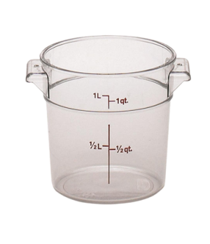 "Storage Container, round, 1 qt., 6-1/16"" dia. x 5"" high, natural white, polyethy"