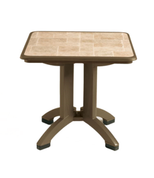 """Siena Folding Table, 32"""" square, with umbrella hole, Kevring® resin with synthe"""