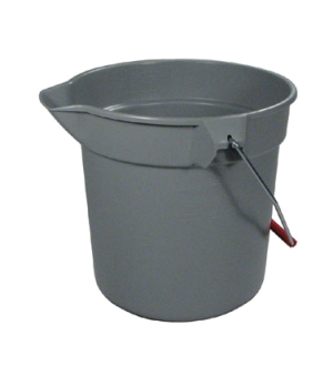 "BRUTE® Bucket, round, 10 qt., 10-1/2"" dia x 10-1/4"" high, molded-in graduations,"