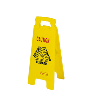 """Floor Sign, multi-lingual, """"closed"""", 2-sided, 26"""" x 11"""" x 1-1/2"""", 25"""" open, yell"""