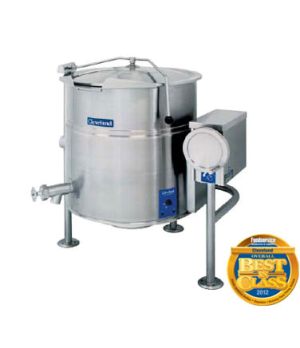 Kettle, Electric, Tilting, 25-gallon capacity, 2/3 steam jacket design, open tri