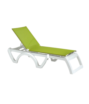 Calypso chaise, stackable, without arms, adjustable sling, white frame, frame, p