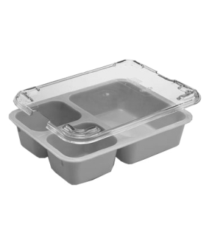 "Tray-on-Tray Meal Delivery, 3-compartment, 8-9/16""L x 6-1/4""W x 1-7/8""D, co-poly"