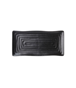 "Platter, 10"" length (26cm), rectangular, embossed, vitrified ceramic, ebony, Tri"
