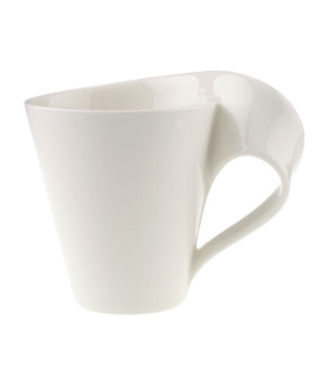 Caffe Mug, 8-1/2 oz., free form, dishwasher & microwave safe, white, premium por