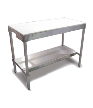 "(14341) Polytop Table Frame, 24""D x 48""W, with undershelf, aluminum frame"