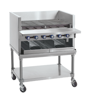 "Smoke Broiler, gas, countertop, 36"", (6) stainless steel burners, cast iron radi"
