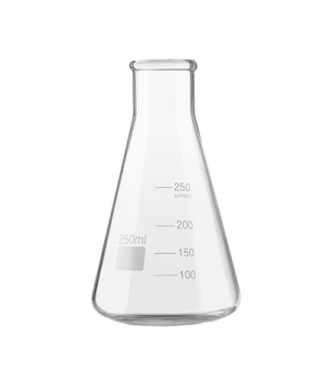 "Erlenmeyer Flask, 8-1/2 oz. (250 ml) capacity, 5-3/4"" H, stemless, with pour lin"