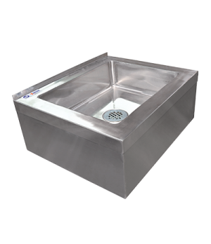 "(24412) Mop Sink, floor mount, 20"" x 16"" x 6"" deep bowl, drain basket, 16 gauge,"