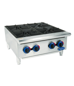 "Chefmate™ 24"" Hot Plate, 4 burner, heavy-duty cast iron grates, 25,000 BTUs per"