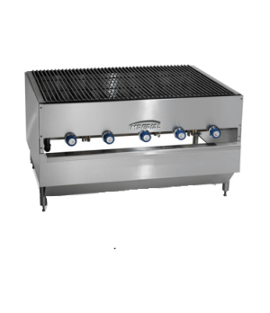"Chicken Charbroiler, gas, countertop, 48"", (5) radiant ""H"" burners, round rod gr"