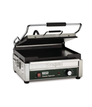 "Tostato Supremo® Panini Grill, full size, 14""x14"" flat cast-iron cooking surfac"
