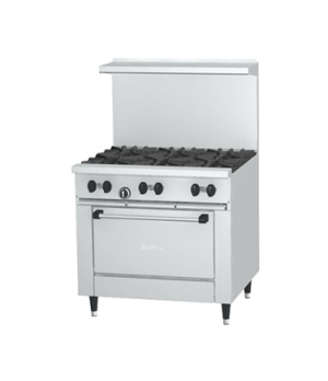 Sunfire® Restaurant Range, gas, 36, (6 30,000 BTU open burners, with cast iron t